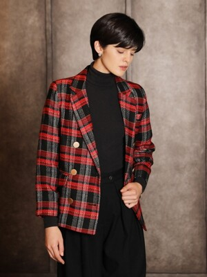 Check tweed jacket_Red