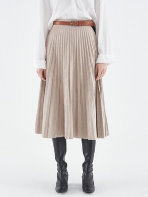 SUEDE PLEATS LONG SKIRT_BEIGE