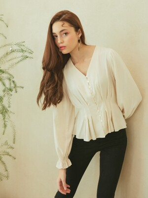 TUCK DETAIL BLOUSE_CREAM
