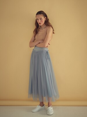 V WAIST TULLE SKIRT - BLUE