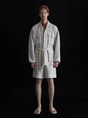 BLENDED LINEN BELTED FILD JACKET_IVORY
