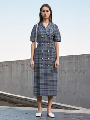 CHECKED DOUBLE JACKET DRESS BLUE/BEIGE  UDDR0E213I2