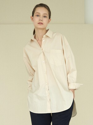 side slit boxy shirt (light beige)
