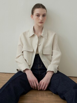 linen cropped shirt jacket (light beige)