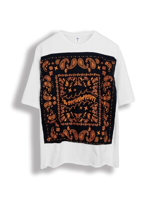 VINTAGE BANDANA T-SHIRT [NAVY X ORANGE]