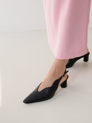 [at SALONDEJU] Wave Slingback - Noir Black