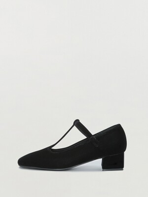 QINSLEY Squared-toe Mary Jane Heels - Black