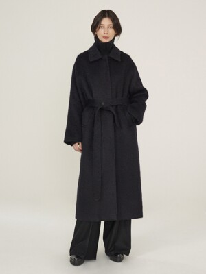 20WT Belted Long Fur Coat_Navy