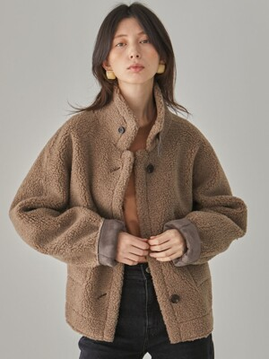 Blanche Reversible Short Shearing Coat_Brown
