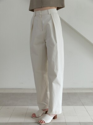 21S WIDE VOLUME PIN-TUCK PANTS (IVORY)