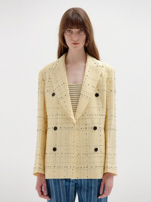 SELL Double-Breasted Blazer - Yellow