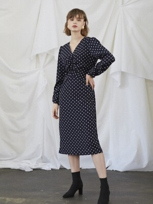 Midi Shirhing Dress_Dot
