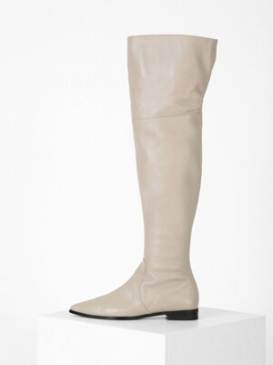 POINTED KNEE-HIGH BOOTS - BEIGEGRAY