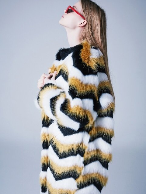 STRIPE FUR COAT-YL