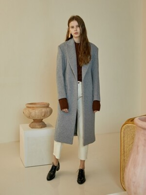 WIDE LAPEL SIGNATURE COAT[L/charcoal]