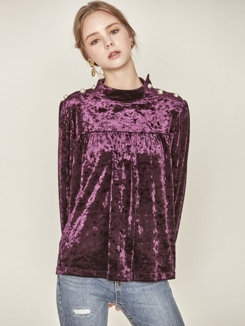 VELVET SHIRRING TOP_PU