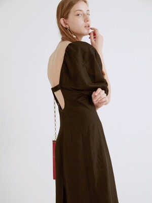 GATHERED LINEN-BLEND DRESS (BLACK)