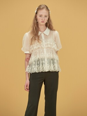 TULLED LACE BLOUSE - IVORY/BLACK