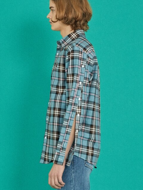 MINT SB CHECK SLEEVE DETAIL SHIRT