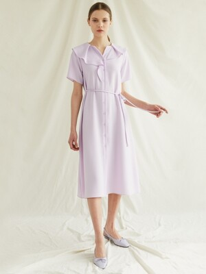 shirring dress-lightpurple