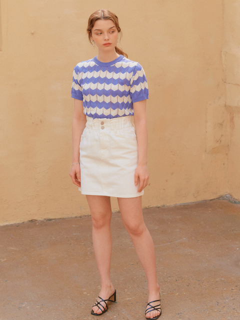BANDING DENIM SKIRT_WHITE