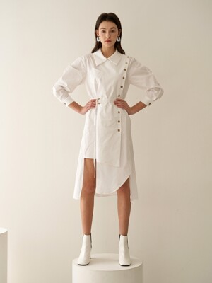 VOLUME SLEEVE SHIRT DRESS WHITE