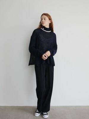 19' FALL_Navy High-Rise Wide Pants