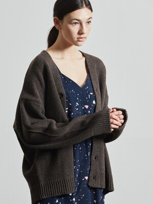Oversized Wool Cardigan (D/BROWN)