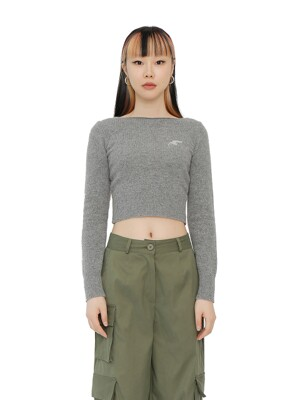 C TRIBAL SYMBOL KNIT TOP_GREY