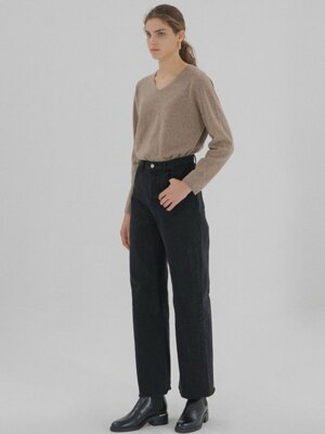 V-Neck Knit - Mocha Beige