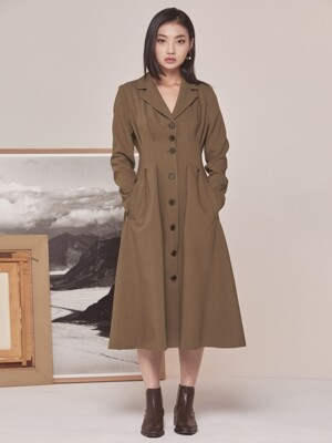 TUCK JACKET LONG DRESS BROWN