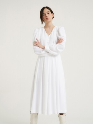 Feminine tie dress_Pale white