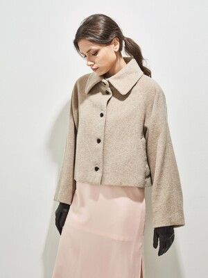 DANTE ANGORA SHORT COAT_ CREAM BEIGE