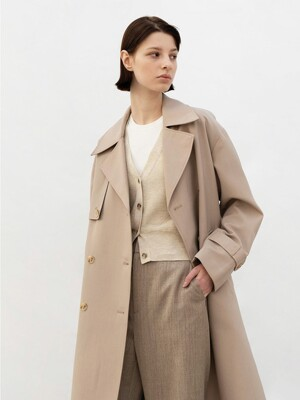 EMILY DOUBLE TRENCH COAT (Beige)