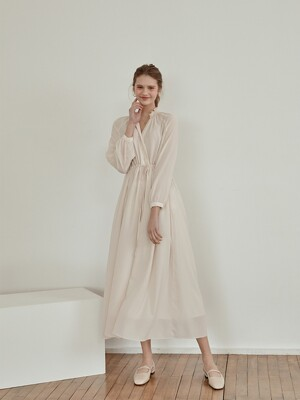 blooming shirring long dress[beige]