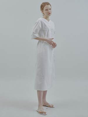 WAIST SHIRRING WRAP DRESS_WHITE