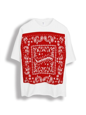 VINTAGE BANDANA T-SHIRT [RED X WHITE]