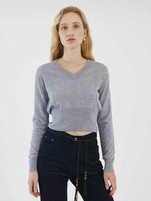 V NECK LINE KNIT (blue grey)