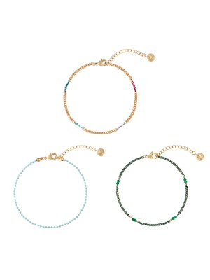 [3SET]COLOR MIX CHAIN BRACELET SET_SE0122