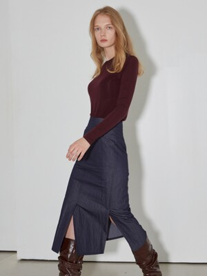 H Line Pocket Cotton Slit Skirts_Denim indigo