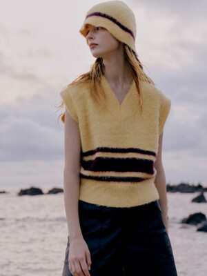 Mohair Blend Stripe Knit Vest / Lemon + Wine