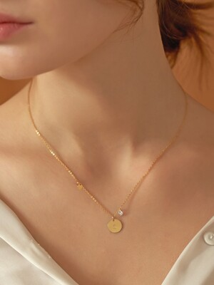 [14k gold filled] Customizing coin cubic necklace_NZ1080