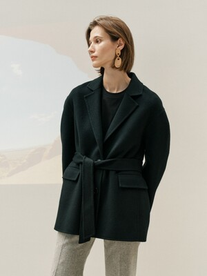 HANDMADE BELTED WOOL JACKET - BLACK