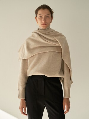 TTW CASHMERE MUFFLER TURTLENECK KNIT 3COLOR