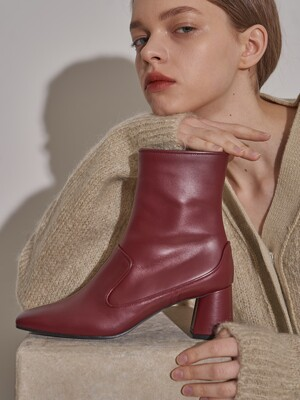 [at SALONDEJU] Square-toe leather boots/ Wine