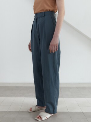 21S WIDE VOLUME PIN-TUCK PANTS (TEAL BLUE)