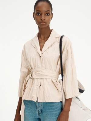 BELTED CRINKLED JACKET (LIGHT BEIGE)