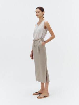 SUMMER-WOOL SLIT LONG SKIRT SOFT GREIGE_UDSK1E212G1
