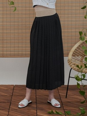 MH6 DOT PLEATS SKIRT_BK