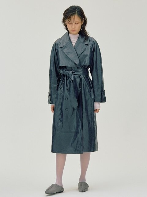 Eco Leather Trench CT_Navy